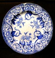 """ASSIETTE Service """"Flora"""" Fleur Liseron Bleu CREIL & MONTEREAU Céramique Faience Earthenware Art Deco XIXème S. ! - Creil Montereau (FRA)"""