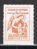 Sello Viñeta Beneficencia, Colegio Huerfanos Seguridad, 5 Pts ** - Beneficiencia (Sellos De)