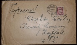 O) 1880 CIRCA.NORGUAY, POST HORN NORGE IN SANS-SERIF CAPITALS SCT 25 10o Rose, FROM TROMSO TO USA - Norway