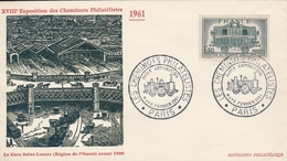 OBLIT. GF ILLUSTRÉE CHEMINOTS PHILAT. - PARIS 2/61 - Locomotive - Postmark Collection (Covers)