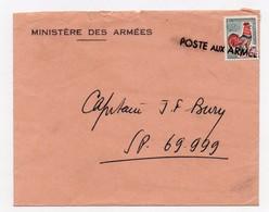!!! PRIX FIXE : COQ DE DECARIS SEUL SUR LETTRE, CACHET LINEAIRE POSTE AUX ARMEES - 1962-65 Cock Of Decaris
