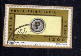 ITALIA REPUBBLICA ITALY REPUBLIC 2000 POSTA PRIORITARIA PRIORITY MAIL LIRE 1200 € 0,62 USATO USED OBLITERE' - 1991-00: Gebraucht