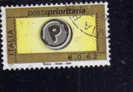 ITALIA REPUBBLICA ITALY REPUBLIC 2002 POSTA PRIORITARIA PRIORITY MAIL € 0,62 USATO USED OBLITERE' - 2001-10: Gebraucht