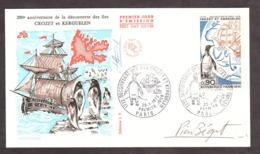 FDC Iles Crozet Et Kerguelen - 1972 - Signature Pierre Béquet - 1970-1979