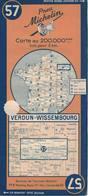 Verdun-Wissembourg. Cartes Michelin. 1948. - Strassenkarten