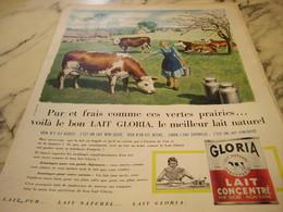 ANCIENNE PUBLICITE PUR ET FRAIS   LAIT CONCENTRE GLORIA 1960 - Manifesti