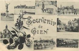 Dpts Div.-ref-AG24- Loiret - Gien - Souvenir De .. Multi Vues Dont Voiture à Chien - Carte Bon Etat - - Gien