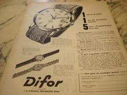 ANCIENNE PUBLICITE MONTRE DIFOR 1960 - Jewels & Clocks