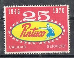 Sello Viñeta 25 Aniversario PINTUCO , Pintura, Decoracion MEDELLIN (Colombia) 1970. Label, Cinderella ** - Colombia