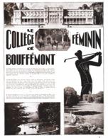 """PUB  LE COLLEGE FEMININ De  """" BOUFFEMONT  """"  ( Val D'Oise (95) )  1931 - Ile-de-France"""