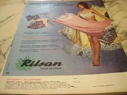 ANCIENNE PUBLICITE TEXTIL D AUJOURD HUI DOUCEUR D AUTREFOIS  LE RILSAN 1960 - Habits & Linge D'époque