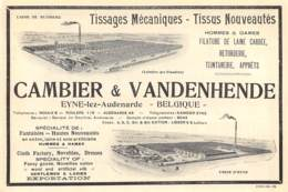 1928 - Eyne-lez-Audenarde - Tissage Mécanique - Cambier & Vandenhende - Dim. 1/2 A4 - Advertising
