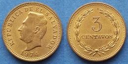 EL SALVADOR - 3 Centavos 1974 KM# 148 Reform Coinage - Edelweiss Coins - Salvador