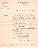 """04  FORCALQUIER  Lettre 1891 """"Ministere De L'Intérieur """" Concernant Personnel De La Prison De Forcalquier - Forcalquier"""