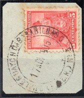 ARGENTINA, 1899 / 1908 Issue, GUALEGUAYCHU A BASALVIBASO ESTAFETA AMBULANTE # 3, Entre Rios, Cancel On Piece - Oblitérés