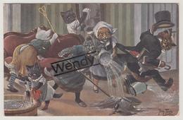 Arthur Thiele - Katten Aan Het Kuisen Serie 1077 - Thiele, Arthur
