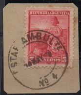 ARGENTINA, 1899 / 1908 Issue,  ESTAFETA AMBULANTE # 4, Entre Rios, Cancel On Piece - Oblitérés