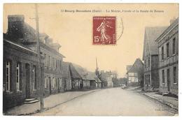Cpa: 27 BOURG BEAUDOIN (ar. Les Andelys) La Mairie, L'Ecole Et La Route De Rouen  (rare) - France