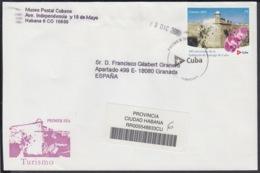 2005-FDC-63 CUBA FDC 2005. REGISTERED COVER TO SPAIN. TURISMO, 490 ANIV SANTIAGO DE CUBA, MORRO CASTLE SANTIAGO. - FDC