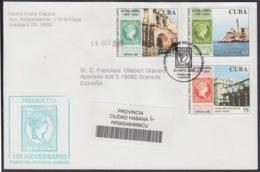2005-FDC-70 CUBA FDC 2005. REGISTERED COVER TO SPAIN. 150 ANIV PRIMER SELLO ANTILLAS ESPAÑOLAS, MORRO CASTLE - FDC