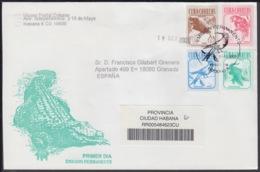 2005-FDC-71 CUBA FDC 2005. REGISTERED COVER TO SPAIN. SERIE PERMANTE, MANATI, COTORRA, LOROS, ZUNZUN, COCODRILO. - FDC