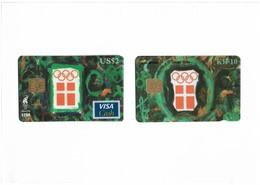 Denmark - Danmønt - Olympic Committee Atlanta 96 Pair 2 Cards - 2.000ex, 10kr & 2$ Visa Card, Both Mint In Folder - Denmark