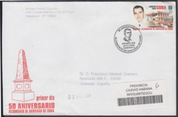 2006-FDC-114 CUBA FDC 2006. REGISTERED COVER TO SPAIN. 50 ANIV ALZAMIENTO DE SANTIAGO DE CUBA, FRANK PAIS. - FDC