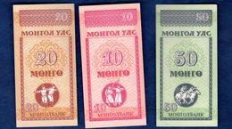 Mongolia - Pick 49-50-51 - 10-20-50 Mongo 1993 - Unc - Set 3 Banknote - Mongolia