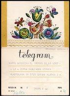 POLAND 1967 TELEGRAM COUNTRY SCENE STYLISED BIRD INSECTS FLOWERS USED TÉLÉGRAMME TELEGRAMM TELEGRAMA TELEGRAMMA - Uccelli