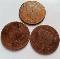 FRANCE LOT DE 3 MONNAIES CERES 10 CENTIMES 1873-1874-1880- (B836) - Zonder Classificatie