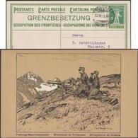 Suisse 1915. Entier Timbré Sur Commande. Occupation Des Frontières. Mitrailleuse De Forteresse Dans Les Alpes - Géologie