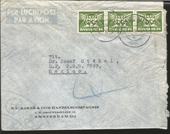 J) 1946 NETHERLAND, STRIP OF 3, 22 CENTS GREEN, AIRMAIL, CIRCULATED COVER, FROM NETHERLAND TO MEXICO - Sonstige - Europa
