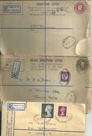 THREE LONDON REGISTERED LETTERS - 1938 - 1953 - 1971 - Interi Postali