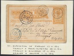 "Congo Belge - EP Au Type 10ctm Orange ""Palmier"" (n°37) De Kabimda Via Pania-Mutumbo Et Kinshasa Vers Bruges. (1912) - Entiers Postaux"