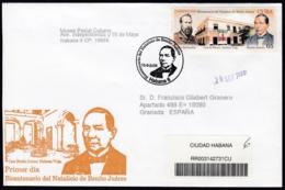 2006-FDC-124 CUBA FDC 2006. REGISTERED COVER TO SPAIN. MEXICO HOUSE BENITO JUAREZ, PEDRO SANTACILIA. - FDC