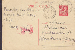 France Postal Stationery Ganzsache Entier 1.25 Fr. Iris (923) PARIS R. Hippolyte 1939 BLANKENESE B. HAMBURG 'OKW' Zensur - Entiers Postaux