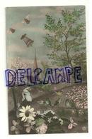 Photographie Montage. Village Et église, Cloches Ailées, Mésanges, Fleurs. 1913 - Pâques