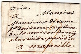 """Lettre Marque Manuscrite """" D'Aix """" Envoyée à  Marseille 1744 - Marcofilie (Brieven)"""