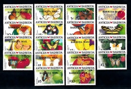 Barbuda 1988, Butterflies, Overprinted Barbuda Mail, 18val - Antigua And Barbuda (1981-...)
