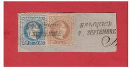 LEVANT AUTRICHIEN -- FRAGMENT -- SALONIQUE--  10SOLDI + 15 SOLDI-- - Levant Autrichien