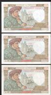 3 Billets 50 Francs, Jaxques Coeur, G102, L.17-7-1941.L, Serie De Trois Numeros Se Suivant, 8697, 8698 Et 8699 - 1871-1952 Anciens Francs Circulés Au XXème