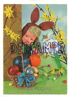 Joyeuses Pâques. Poupée Oreilles De Lapin Et Fleurs. Oeufs - Pâques