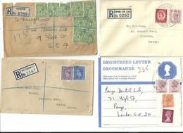 FOUR REGISTERED LETTERS - PECKHAM - CHELTENHAM - LONDON - ONE OTHER - Postmark Collection