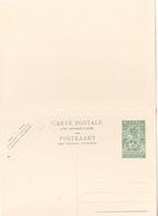 Entier Postal Stationery - Congo-Belge/ Belgische Congo - 1.20fr  Vert - Double Avec Réponse Payée - Entiers Postaux