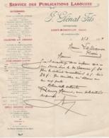 38 - SAINT-MARCELLIN (Isère) - J. GLENAT Fils - Service Des Publications Larousse, Facture 1919 - France
