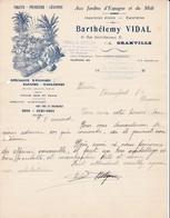 50 GRANVILLE COURRIER 1935 Aux Jardins D' Espagne Et Du Midi VIDAL Oranges Bananes  X31 Manche - France