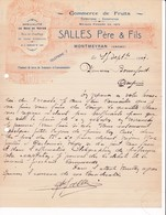 26 MONTMEYRAN COURRIER 1927 Commerce De Fruits SALLES   Bois De Noyer   X31 Drome  C/ CREST - France