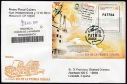 2007-FDC-90 CUBA FDC 2007. REGISTERED COVER TO SPAIN. HF DIA DE LA PRENSA CUBANA, NEWSPAPER, FIDEL CASTRO. - FDC