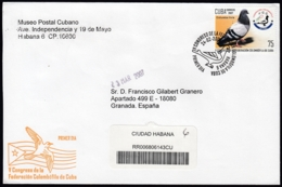 2007-FDC-91 CUBA FDC 2007. REGISTERED COVER TO SPAIN. CONGRESO FEDERACION COLOMBOFILA, PALOMAS, PIGEON. - FDC