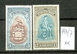 BARBADOS - 196/7  BWI-Universität  1951  Kpl. Postfr  MNH - Barbades (...-1966)
